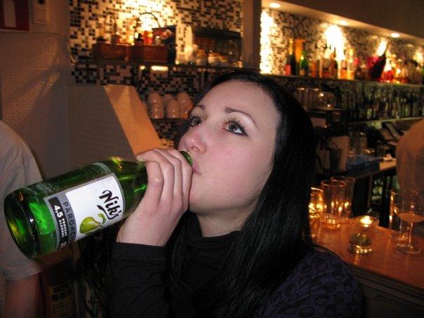random girl with bottle